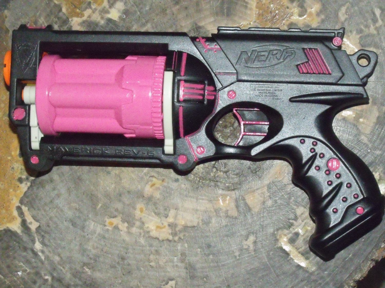 Tough Pink & Black Custom Painted/Modified Nerf Maverick Blaster Gun w/6  Darts