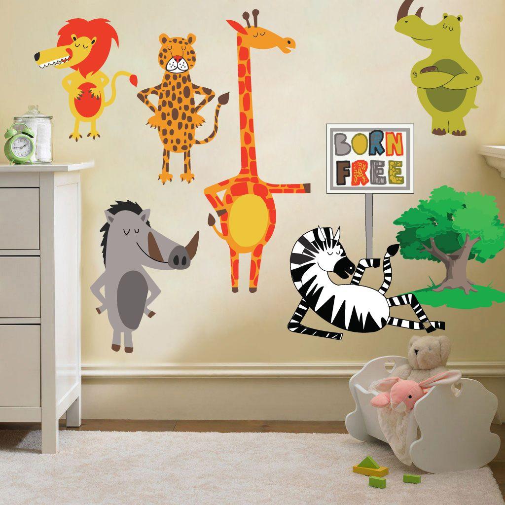 Childrens born free animals jungle wall stickers decals nursery room