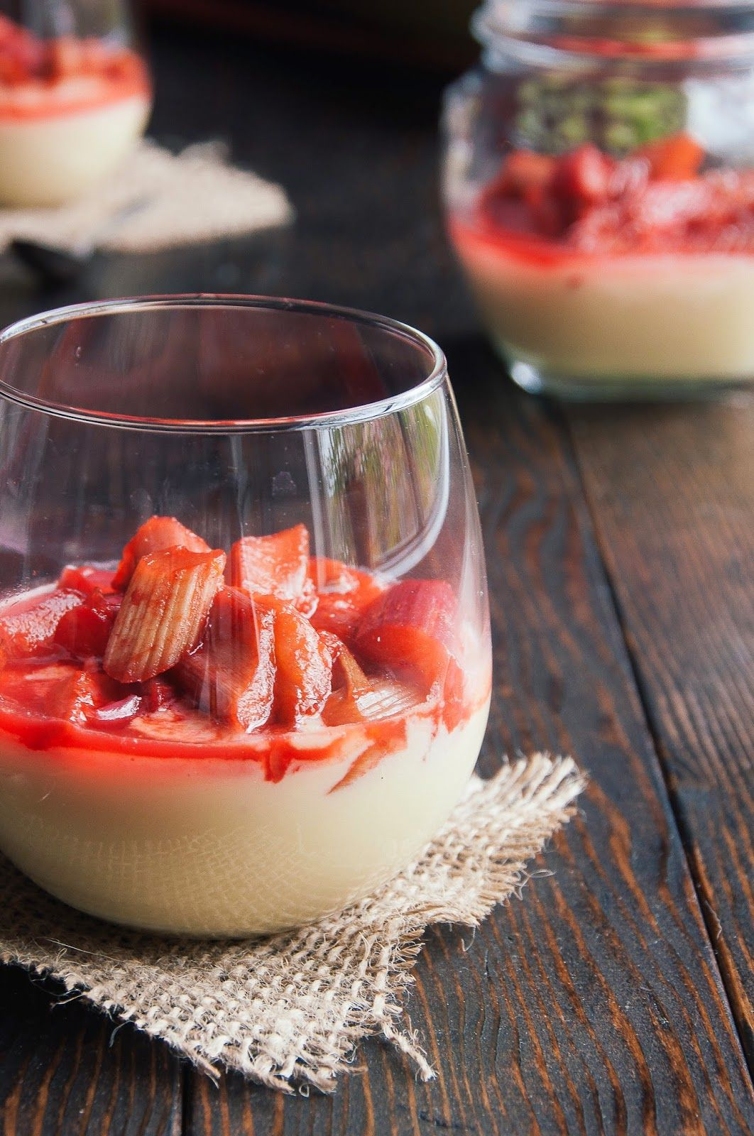 Ginger White Chocolate Mousse with Honey Roasted Rhubarb.
