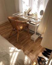 Bohemian Home Office Mit Rattanstuhl Und Glas Ikea Schreibtisch