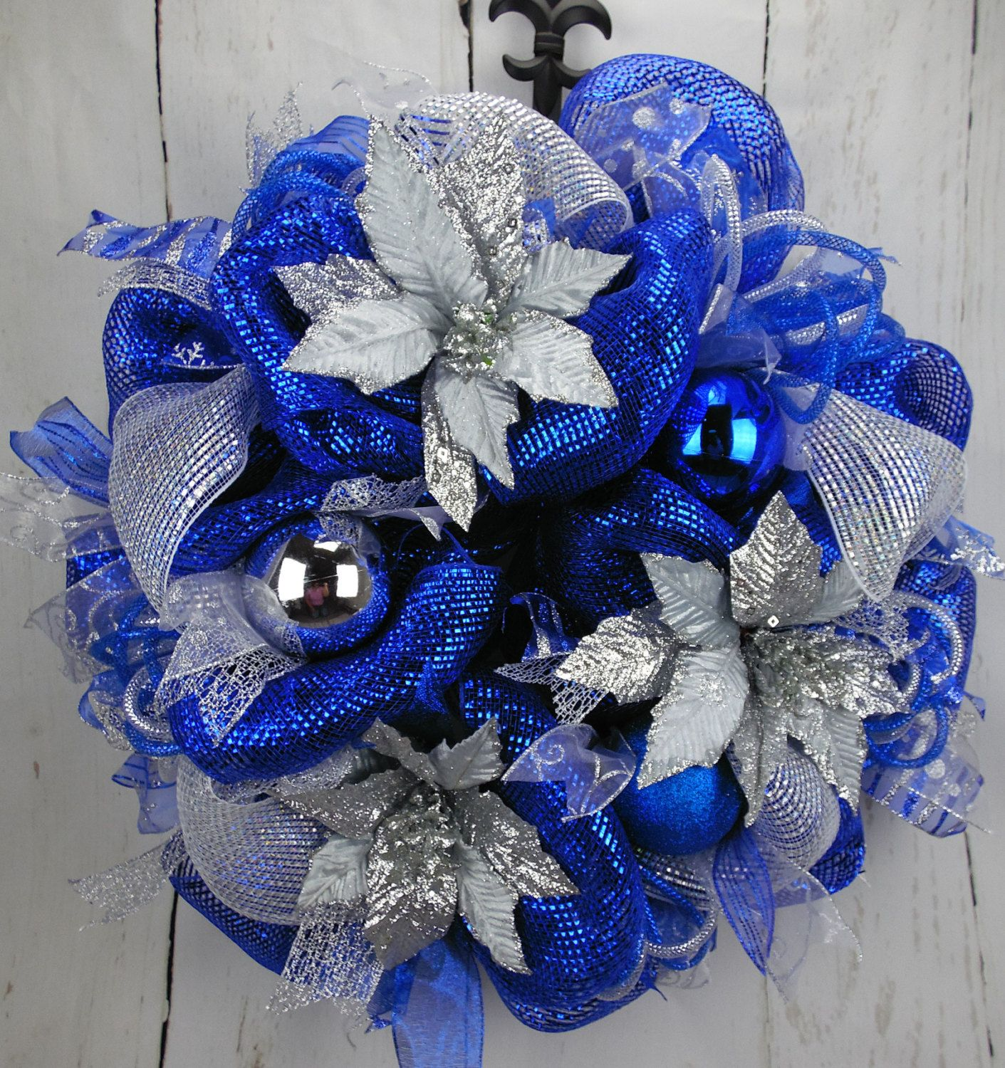 Blue And Silver Christmas Wreath, Silver Poinsettia Wreath, Blue And