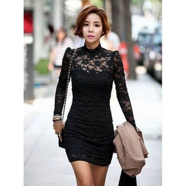 High neck black dress with collar