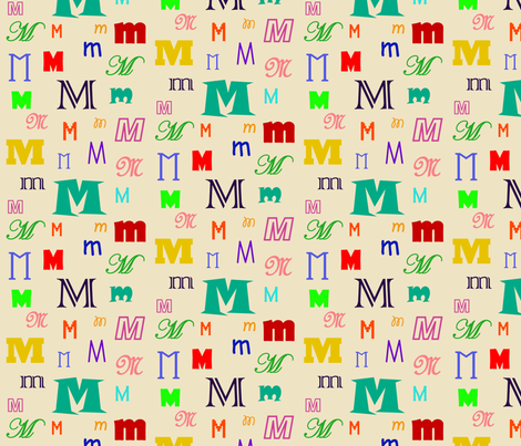 Initially_M fabric by lesleyclover-brown on Spoonflower - custom fabric