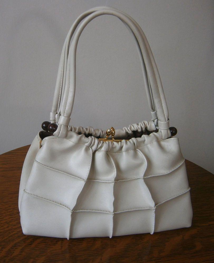 Vintage 1960s Miss Salisbury Cream Faux Leather Handbag Bag Elbief Frame Wedding Ebay