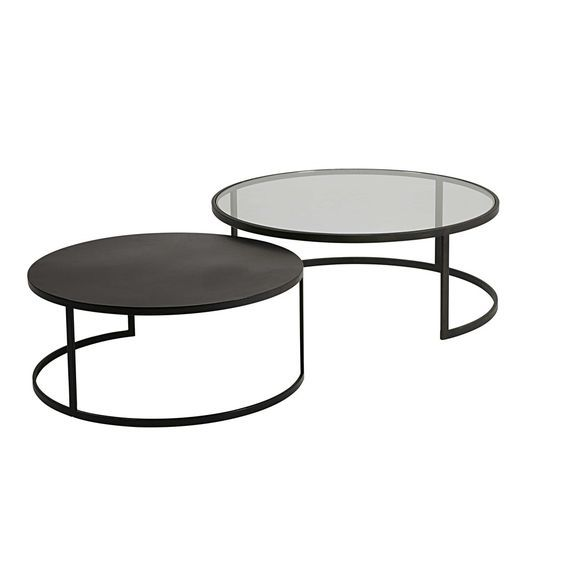 2 Tables Basses Gigognes En Verre Trempe Et Metal Noir Eclipse Maisons Du Monde Tables Gigognes Table Basse Gigogne Table Basse