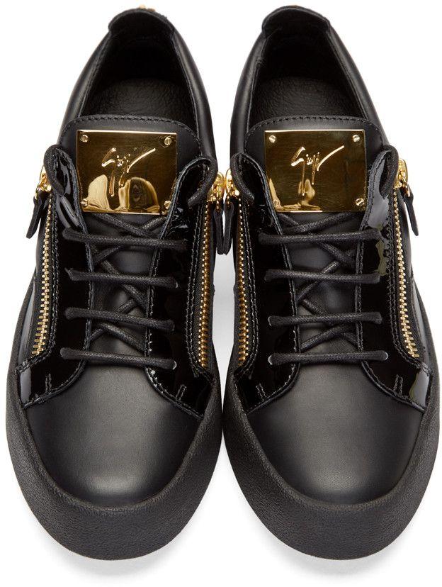 7e1abbdba49d2 Giuseppe Zanotti Black   Gold Low-Top Birel Sneakers