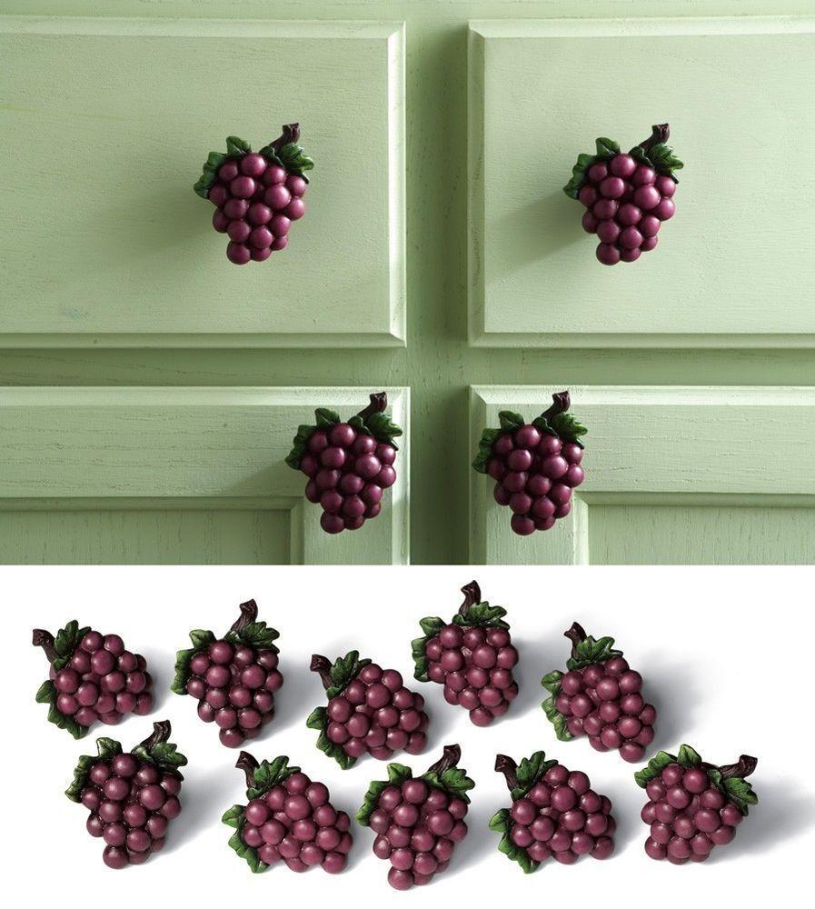 Wine Themed Kitchen Paint Ideas: 10 Grape Cabinet Drawer Pulls Grapevine Wine Vineyard
