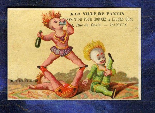 CHROMO PUB CLOWN EQUILIBRISTE VIN CIRQUE CIRCUS 1880 FONTANET Gymnaste gymnast…