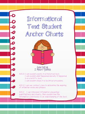 Information Text With Student Anchor Charts Includes 5 Anchor Charts For Ri 3 Ri 4 And Ri Anchor Charts Education Quotes For Teachers Reading Anchor Charts