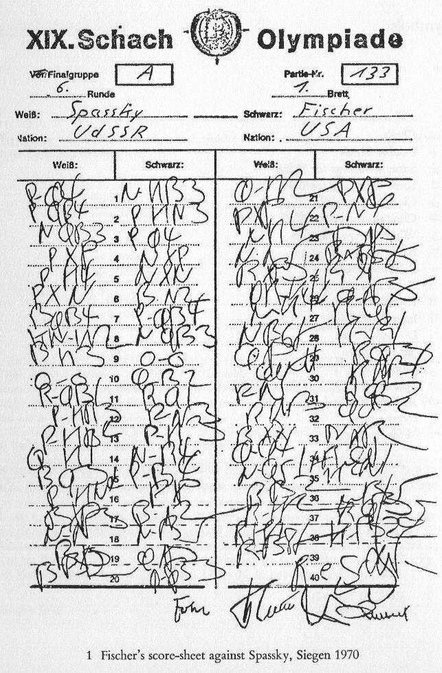 Bobby Fischer Scoresheet  Chess    Bobby Chess And Learning