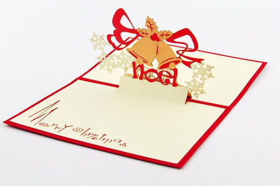 Christamas Card 3D Popup Card Red Holiday Greeting by CardsBless