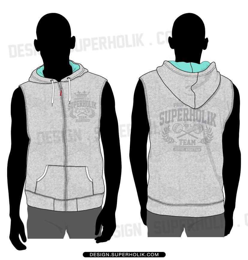 Sleeveless hoodie | Fashion Vector Templates | Pinterest ...