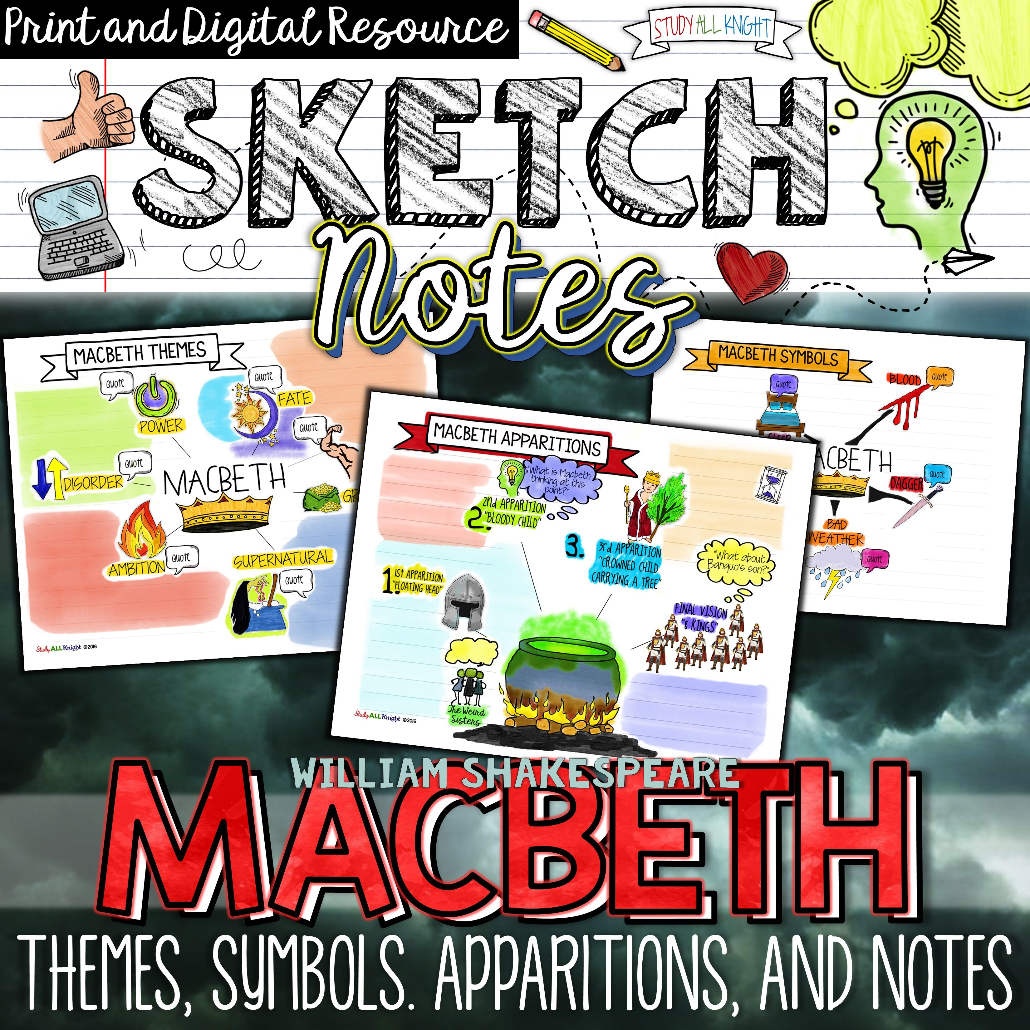 Macbeth Themes Symbols Apparitions Sketch Notes Guided Notes And Background