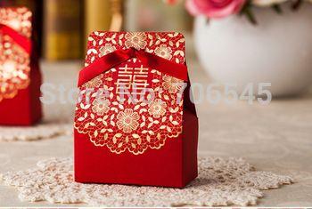 50 Pcslote Double Bonheur Conception Chinois Rouge Boîte