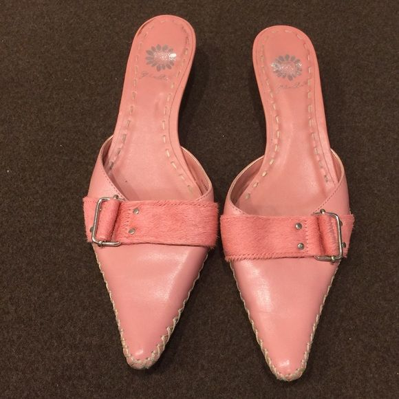 Pink leather mules with pony hair strap/buckle Pointy toe, pink mules.  Low heel Yellow Box Shoes Mules & Clogs