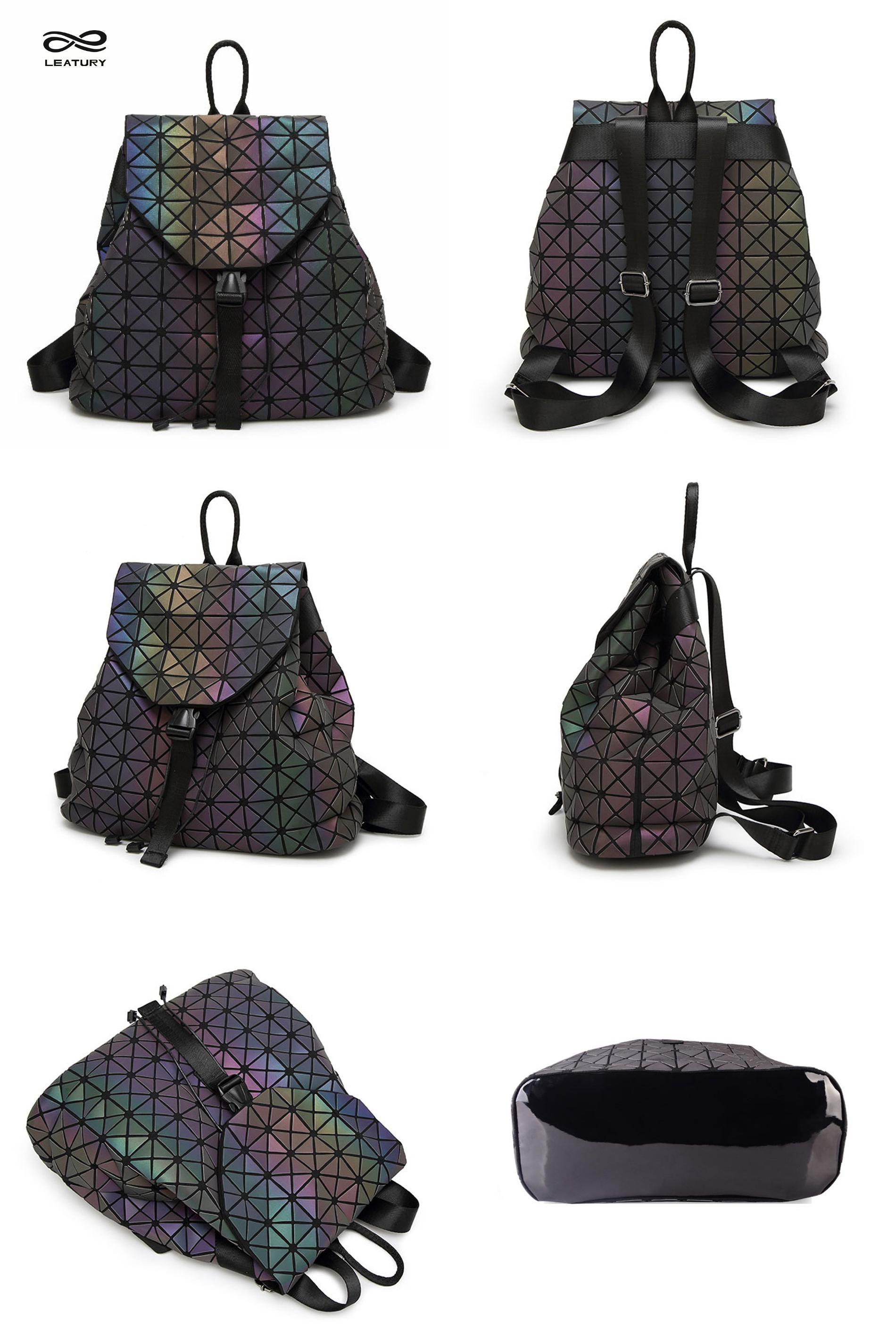 Visit to Buy  Leatury Luminous Backpack Diamond Lattice Bag Travel  Geometric Women Fashion Bag 356f6b6094e19