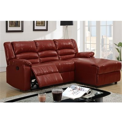 Bobkona Loveseat Recliner With Right Chaise In Burgundy Bonded