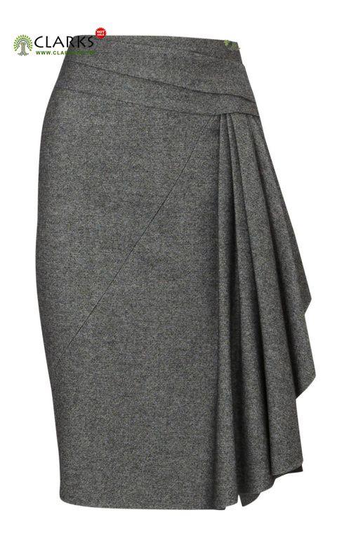 Karen Millen Twisted Tweed Skirt Grey