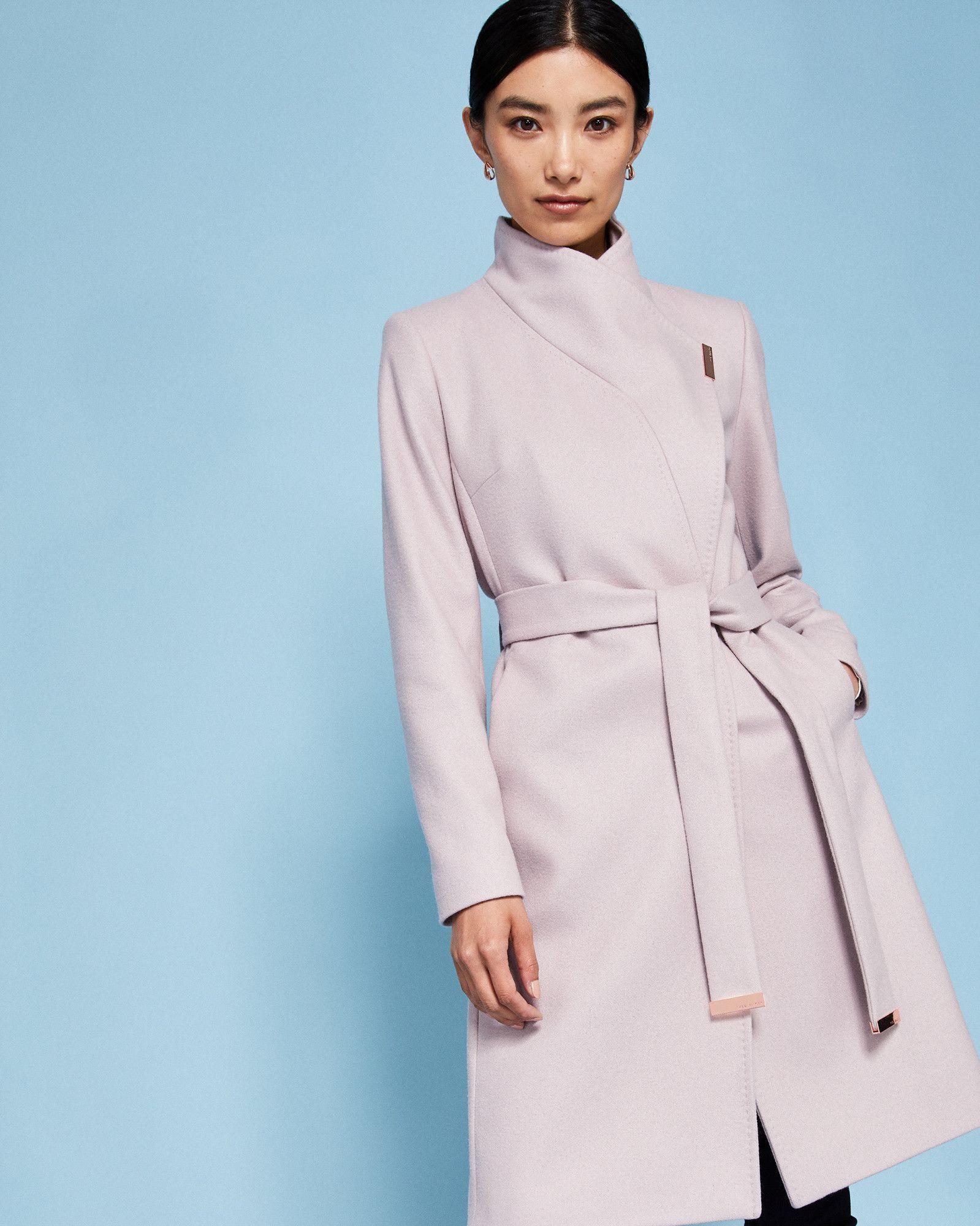 cccb9d67472bd1 Ted Baker Cashmere-blend wrap front coat