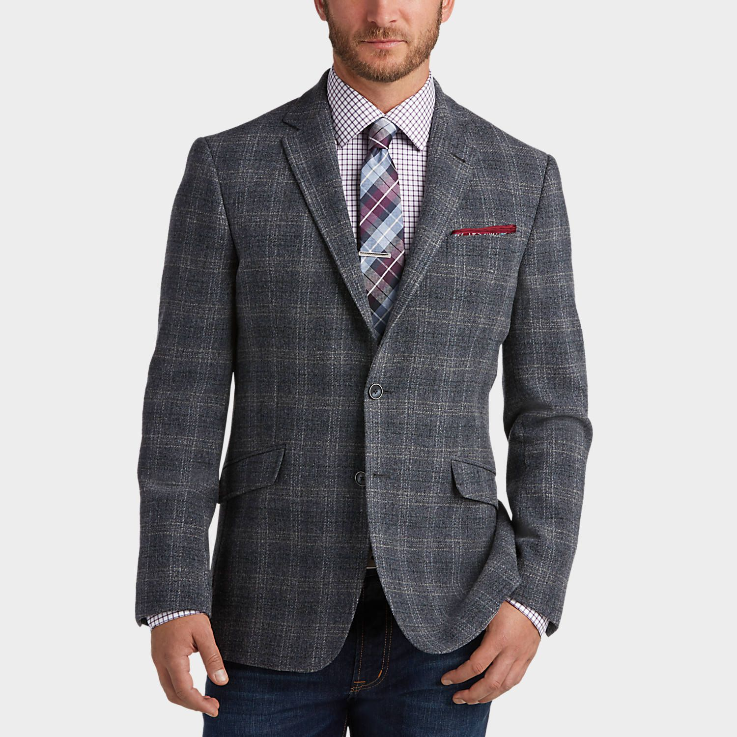 Buy a JOE Joseph Abboud Blue Plaid Slim Fit Sport Coat and other