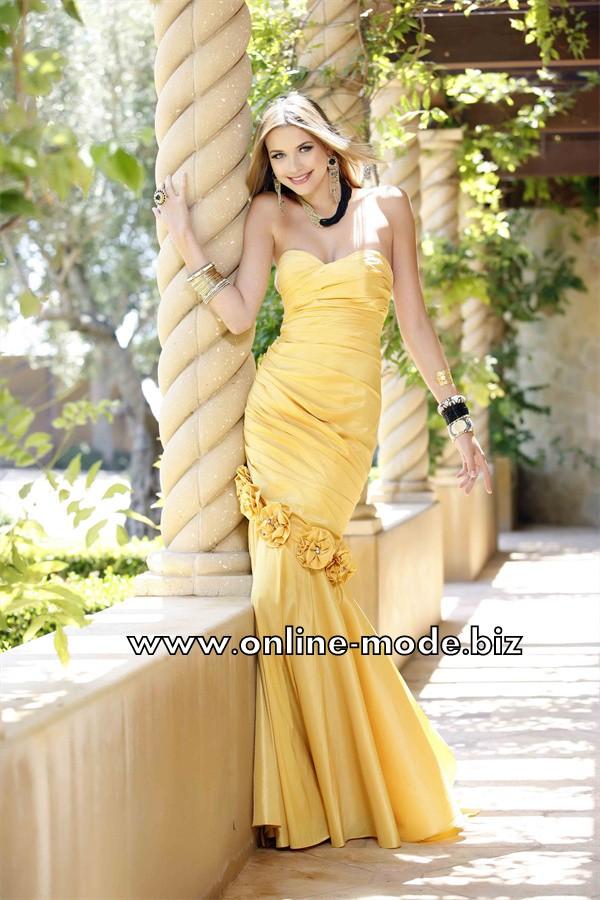 Abendkleid Online in Gelb mit 3D Blumen | Abendkleid ...
