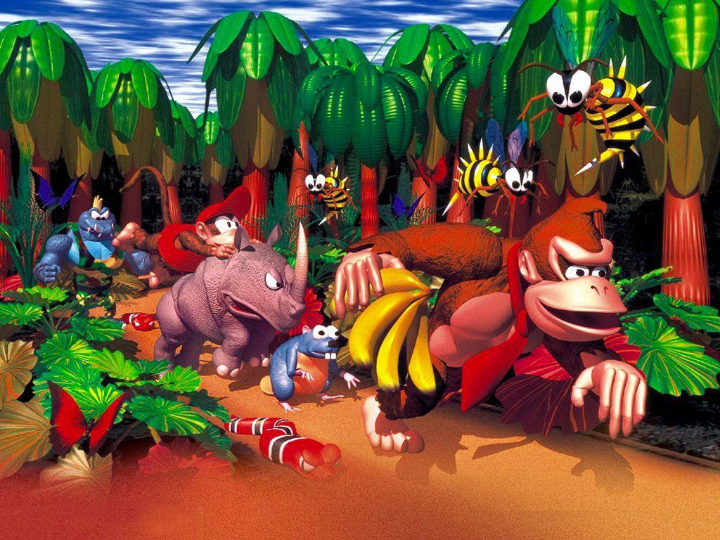 Resultado de imagem para donkey kong snes art