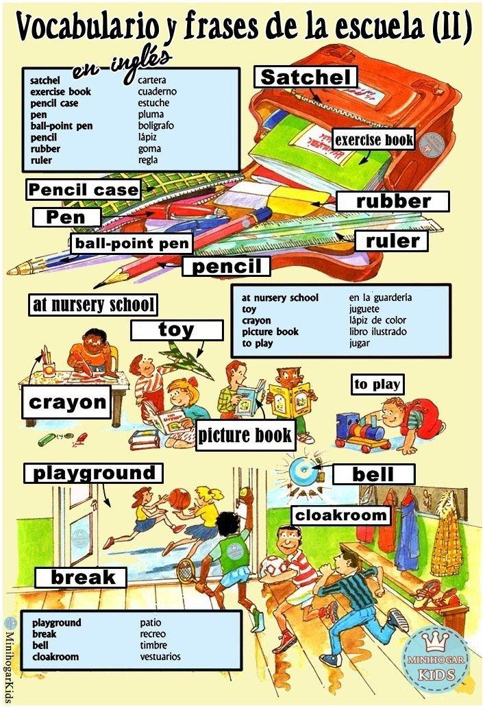 Vocabulario colegio 2 ingl s espa ol jpg 708 1033 for 10 objetos en ingles del salon de clases
