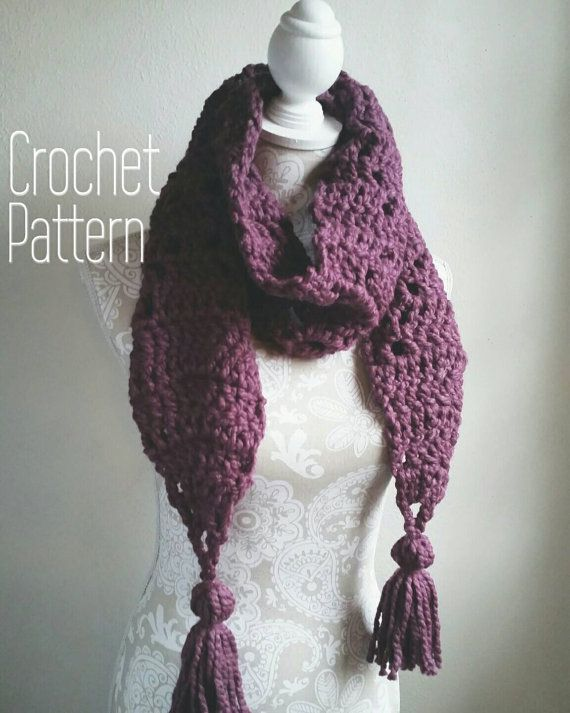 Crochet Pattern For Chunky Scarf With Big Tassels Chunky Crochet