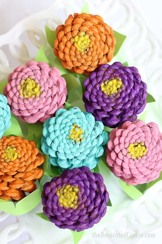 How to paint easy pine cone zinneas, a colorful home decor craft.Video.