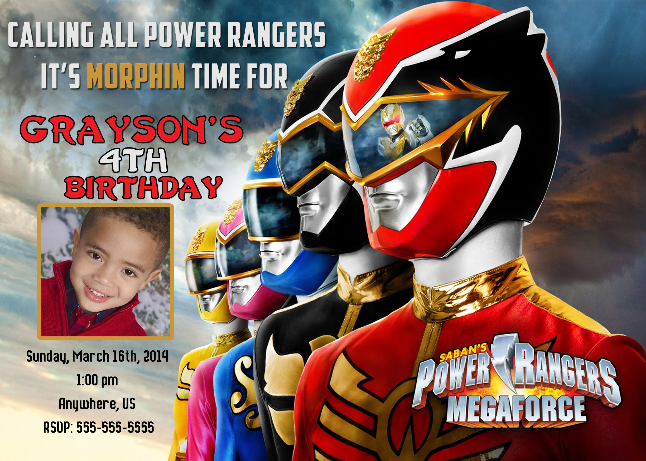 Power Rangers Megaforce birthday invitations 8