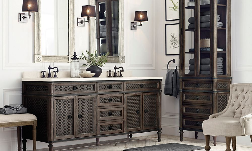 master bath inspiration beauty is in the details vanity and cabinet features unexpected treillage lattice style