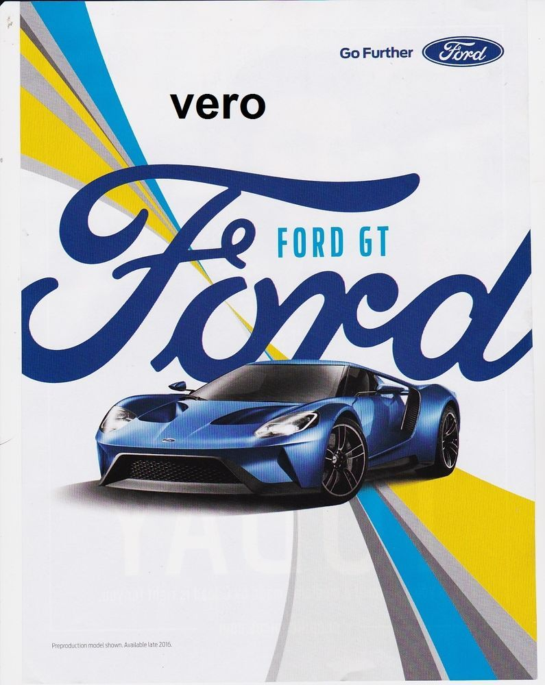 Ford Gt  Magazine Ad Print Art Page Clipping Car Automobile Blue Super Car
