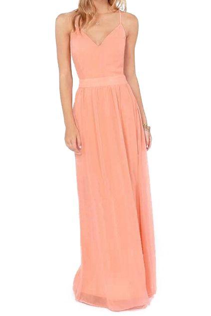 ROMWE | ROMWE Crossed Straps Blackless Longline Pink Dress, The Latest Street Fashion