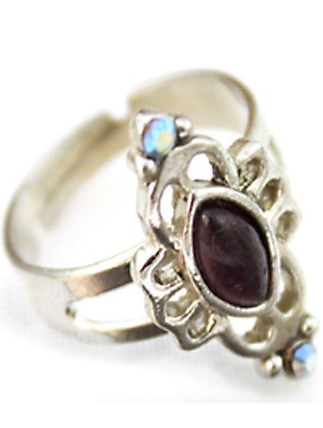 Black Gemstone Silver Hollow Ring 4.93