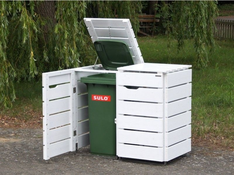 2er Mülltonnenbox Holz, für 120 L + 240 L, Deckend Geölt Weiß - heimisches Holz - Made in Germany