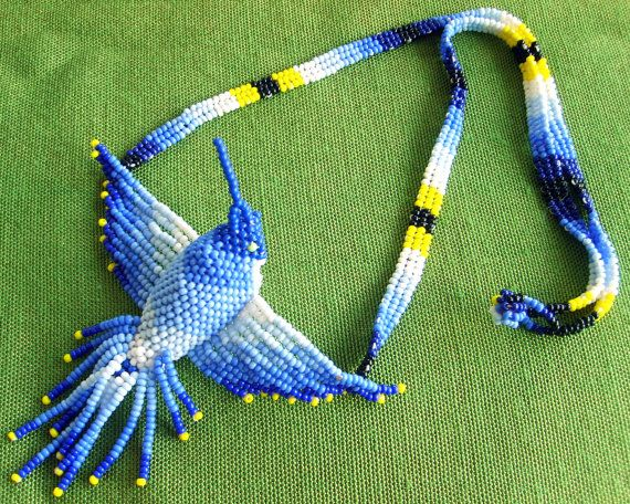 Mexican Huichol Beaded hummingbird necklace by Aramara on Etsy, $30.00