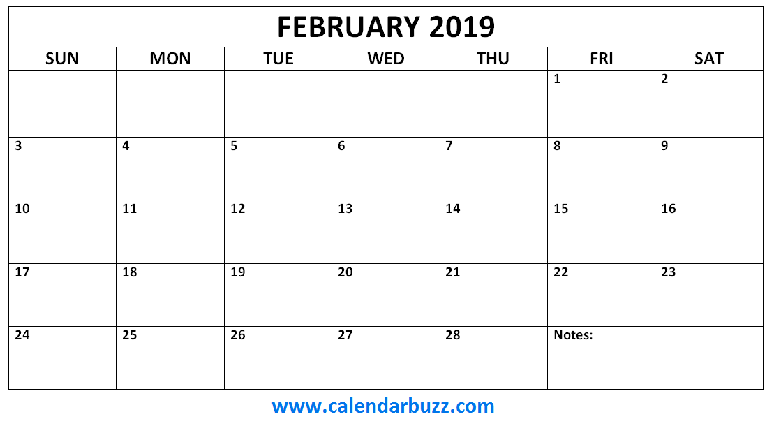 Blank 2019 Calendar Monthly february 2019 calendar monthly printable | 2019 Calendars | Blank