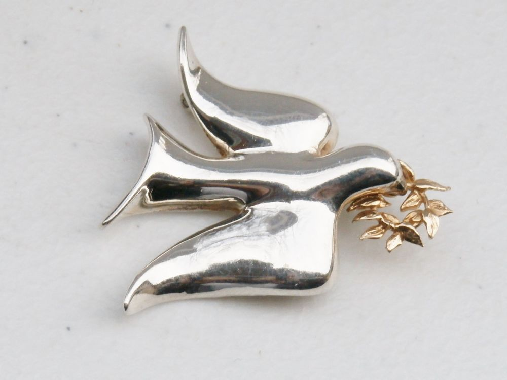 72fa08ff6 Vintage Ballou BAB Sterling Silver Peace Dove 14K Gold Olive Branch Brooch  Pin #Ballou