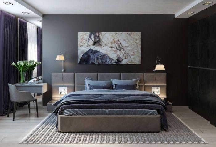 Mod le am nagement de chambre parentale dans style moderne avec murs gris et plafond suspendu - Chambre parentale grise ...