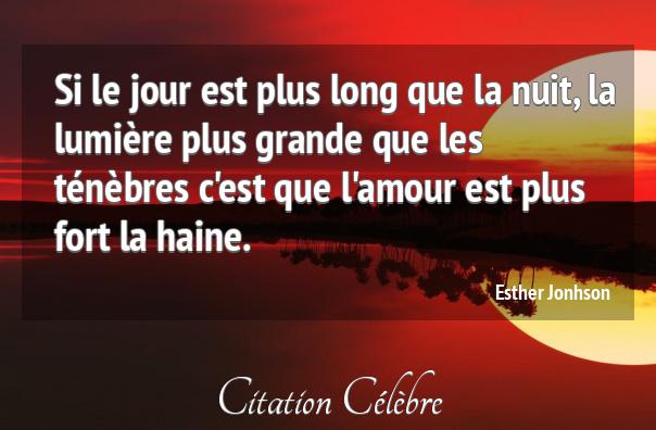 Citation Amour Lumiere Nuit Esther Jonhson Phrase N