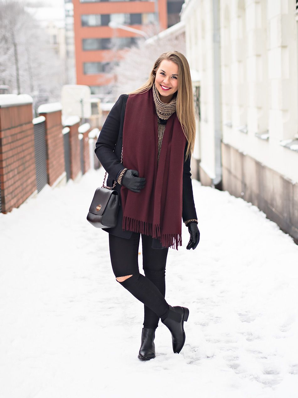 Navy Blue And Burgundy Winter Outfit http://monasdailystyle.fitfashion.fi/2016/01/27/navy-blue-burgundy/