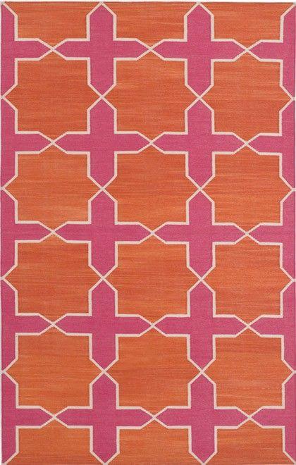Madeline Weinrib Pink  Orange Westley Cotton Carpet