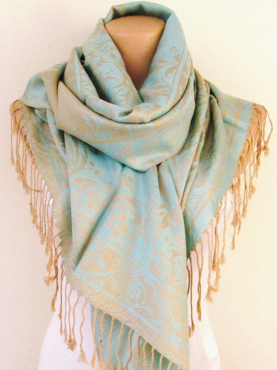 257a94b99 Aqua Blue Beige Pashmina Scarf Oversize Scarf Fall Winter Scarf Large Scarf  Women Fashion Accessori