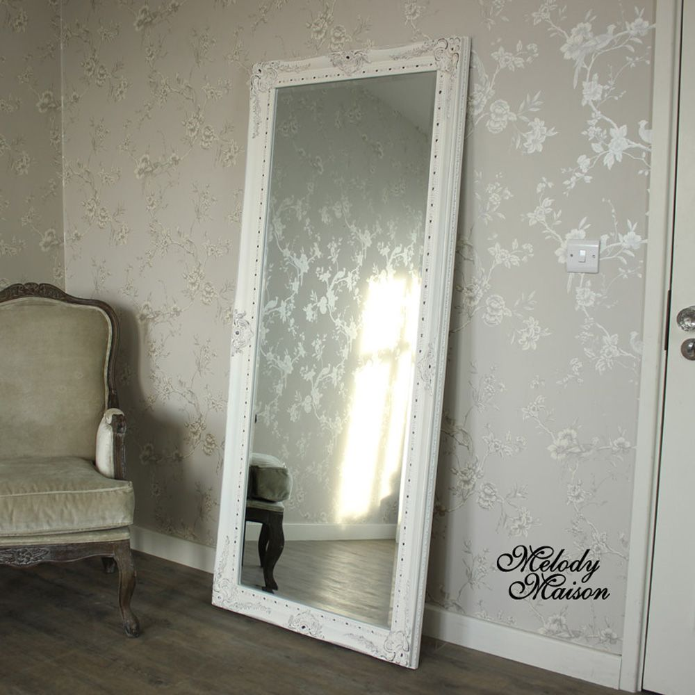 Large Ornate White Wall Leaner Mirror 176cm X 76cm Floor Mirror White Walls Large Floor Mirror