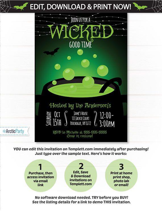 Halloween Invitation Template! Includes No waiting! Edit NOW from - halloween invitation template