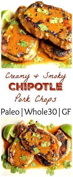 Creamy Smoky Chipotle Pork Chops (Paleo, Whole 30) #whole30recipes