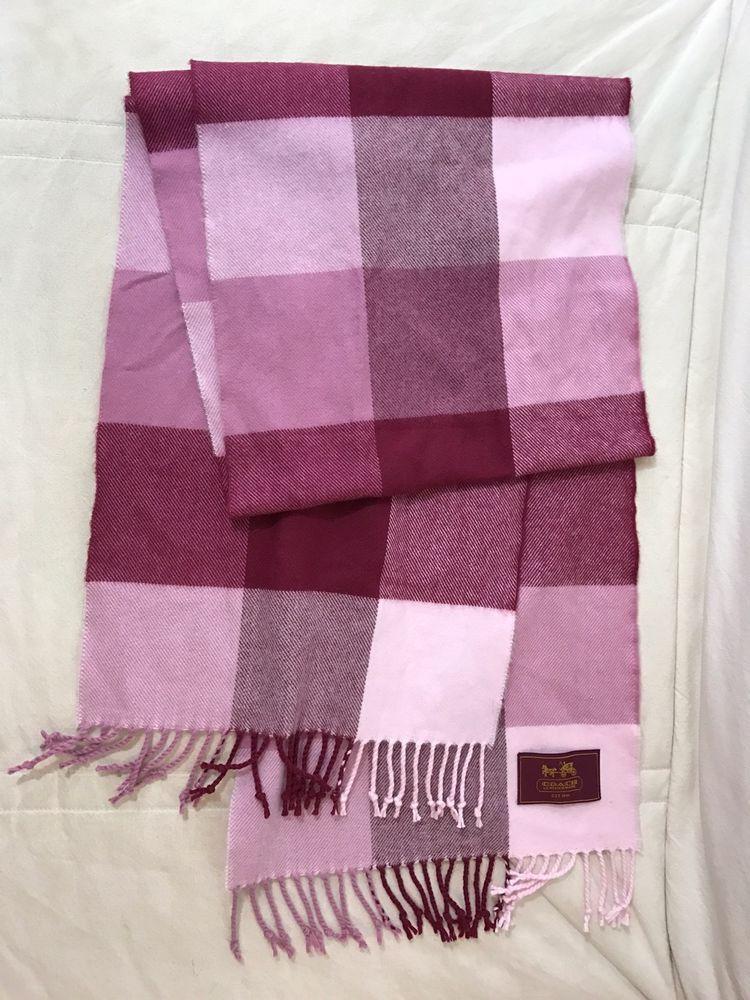 Coach Leatherware Usa Pink Red Wool Knit Yarn Checker 2 Fringe Scarf 64 X 11 5