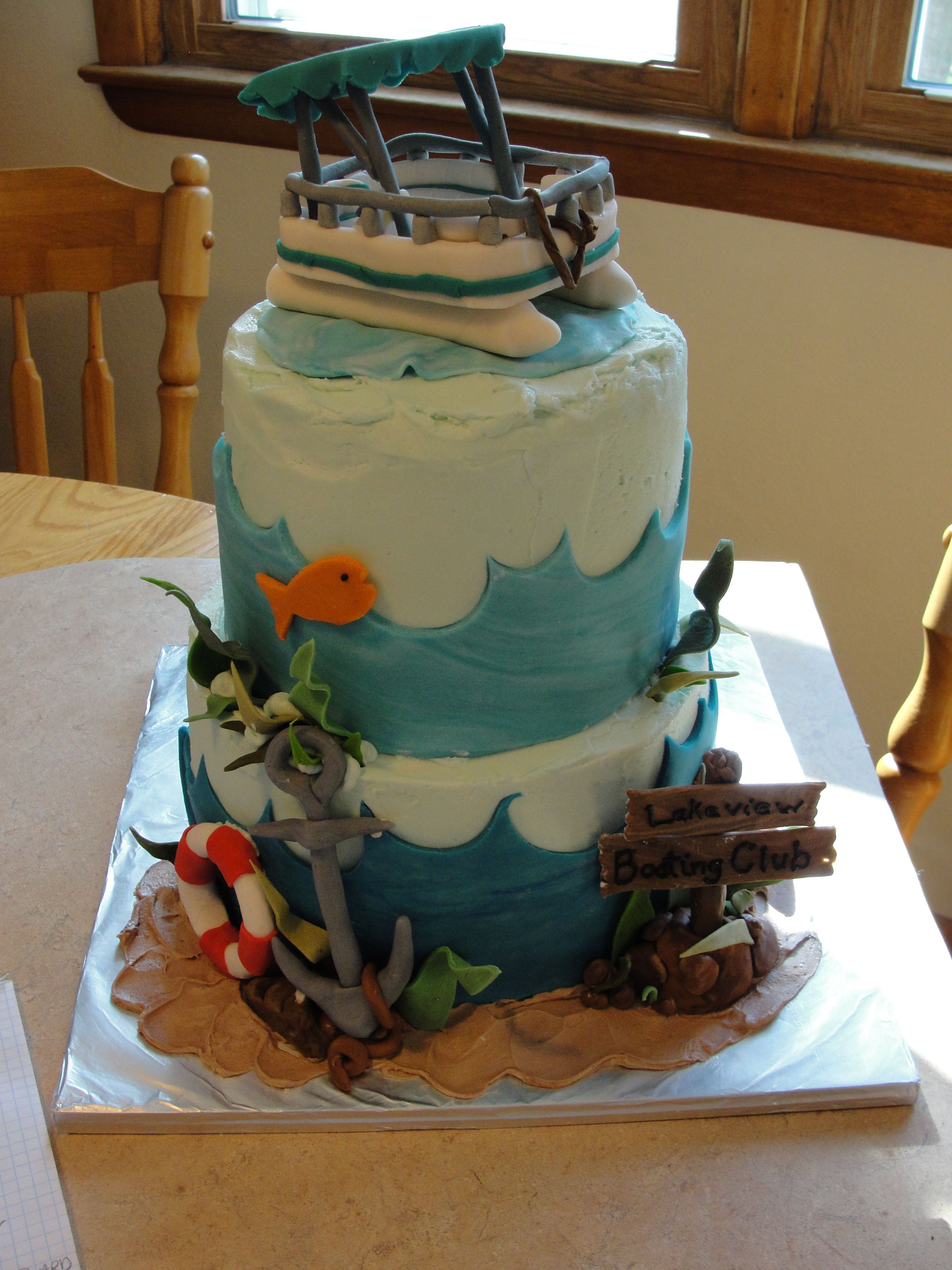 Pontoon boat cake lake boating fishing anchor 2 tier all for Fishing cake ideas