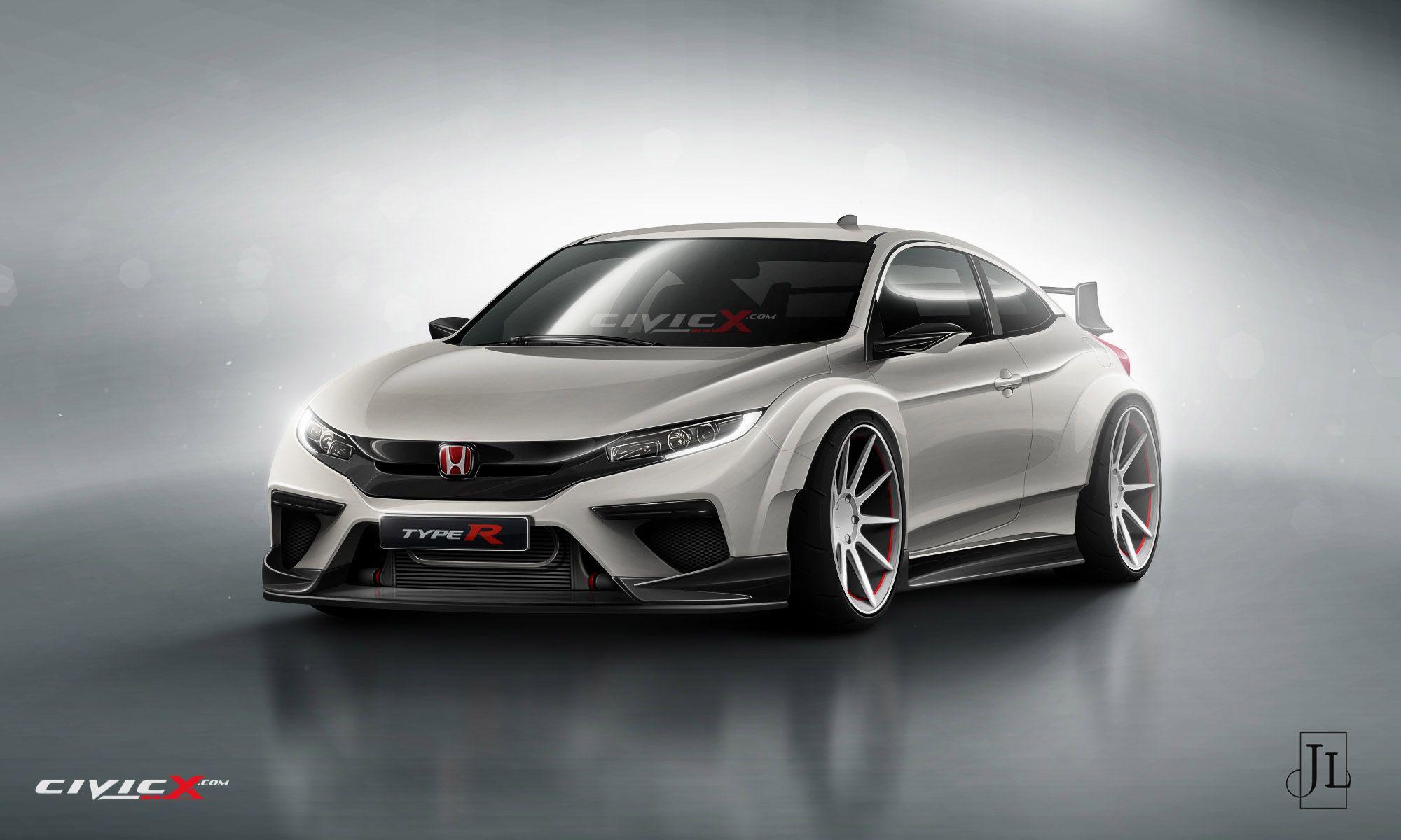 Honda Civic Type R 3D Render Honda civic coupe, Honda
