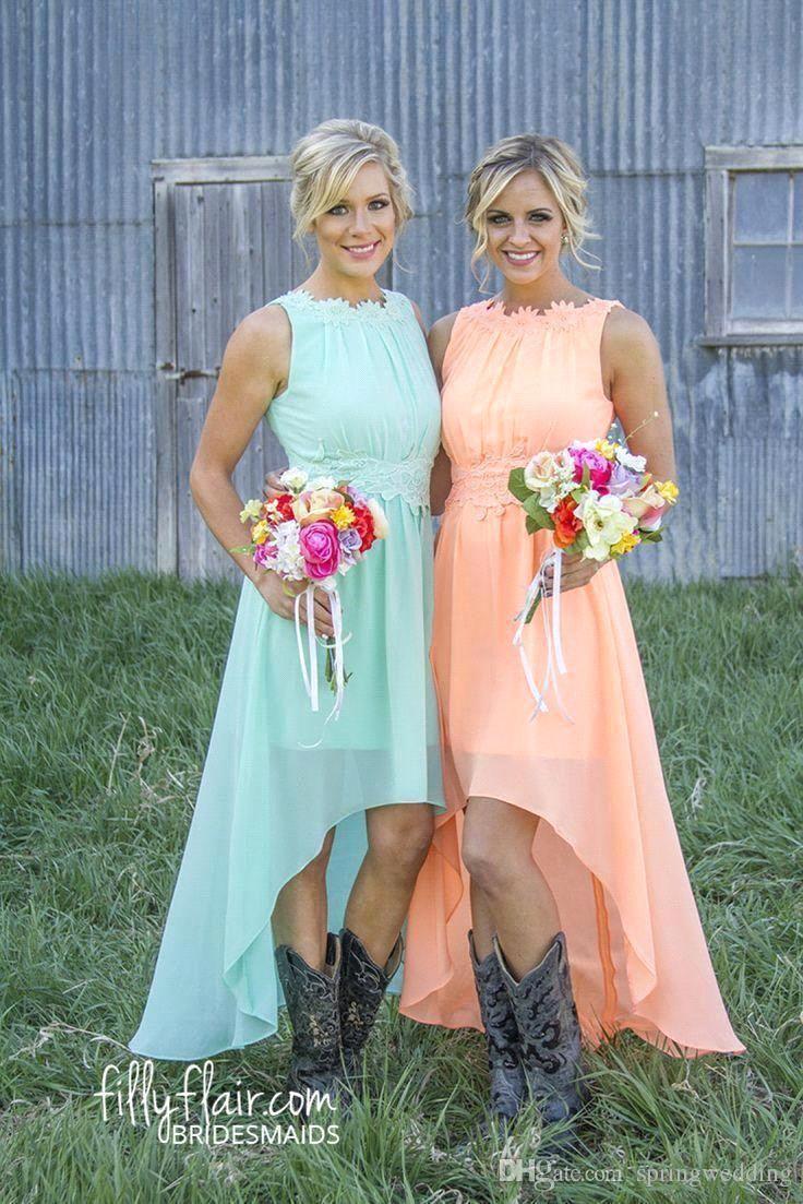 Cheap 2016 New Beach Chiffon Bridesmaid Dresses Lace Crew Neck High ...